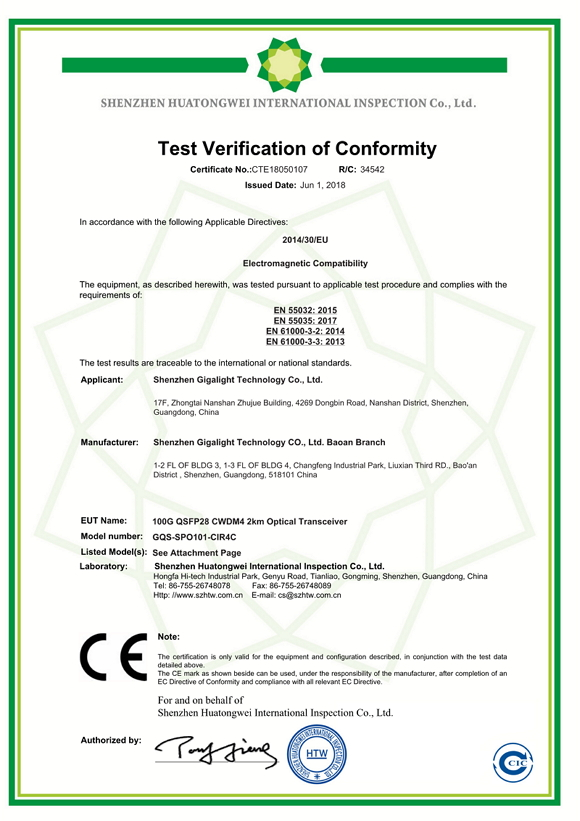 100G QSFP28 CWDM4 2km CE Cert. EMC
