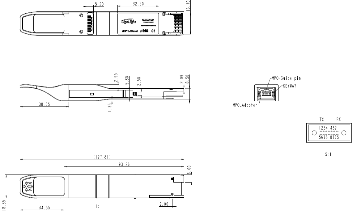 400G QSFP-DD SR8 Mechanical Specifications